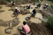Panning for gold in Haiti