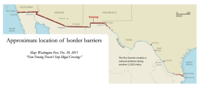 The southwest border fence map