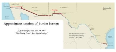 The southwest border fence map