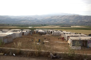 "An ""informal tented settlement"" is home to Syrians taking refuge in the Bekaa Valley of Lebanon."