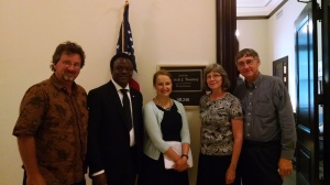 Katherine Cessar (center), staff for Sen. Toomey (R-Pa.), met with MCC staff (left to right) Luke Schrock-Hurst, Charles Kwuelum and Laura and Ken Litwiller about the Food for Peace Reform Act.
