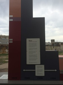 In September 2015 MCC East Coast and the national Restorative Justice program sponsored a Pipeline to Prison learning tour with 16 participants. The tour provided a framework for hearing about issues of mass incarceration within the U.S. The Big Graph, a steel sculpture on the grounds of Eastern State Penitentiary, Philadelphia, Pa., illustrates unprecedented incarceration rates in the U.S. since 1990. MCC Photo/Lorraine Stutzman/Amstutz