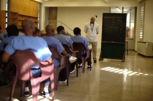 At the Philadelphia Detention Center, MCC East Coast supports the work of a peace worker Ron Muse in this minimum- to medium-security prison. Here Muse leads his weekly Bible study.