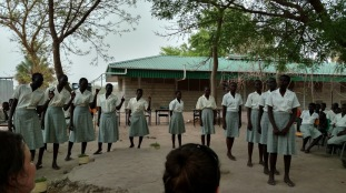 Students at Loreto Girls Secondary School perform a song